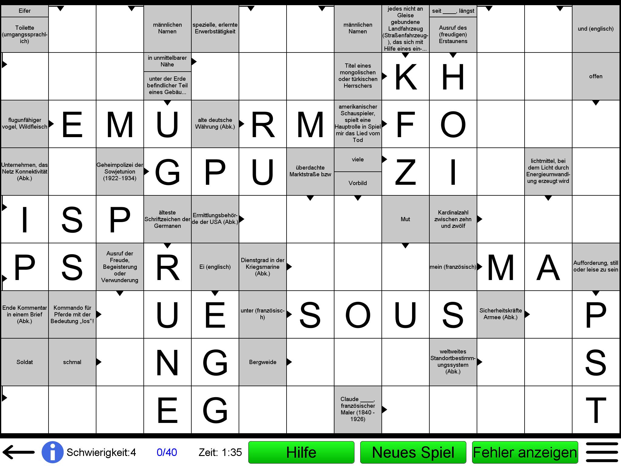 Schwierigkeit Kreuzworträtsel